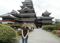 Emma visiting Matsumoto Castle in the Japanese Alps