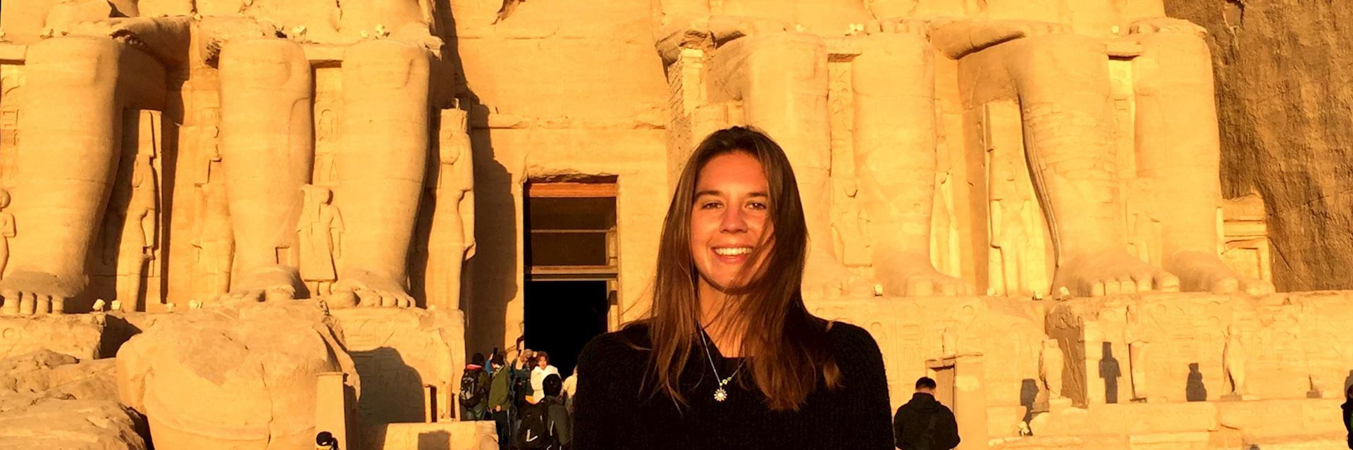 Millie visiting Abu Simbel, Egypt