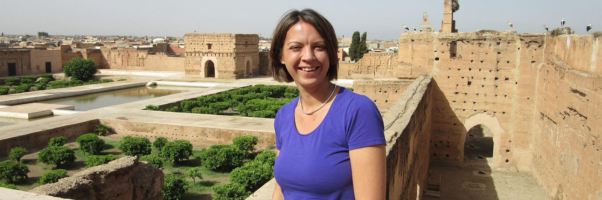 Sarah at the Badia Palace, Marrakesh, Morocco