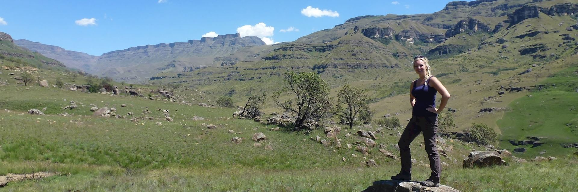 Anna hiking in the Drakensberg Mountains, South Africa