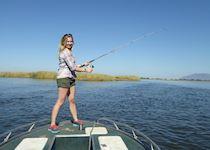 Anna on a fishing trip in the Lower Zambezi National Park in Zambia