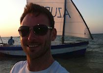Anthony disembarking from a dhow cruise around Benguerra Island, Mozambique