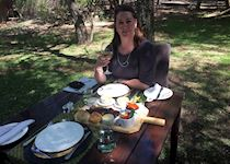 Cara having lunch at Dulini in the Kruger, South Africa