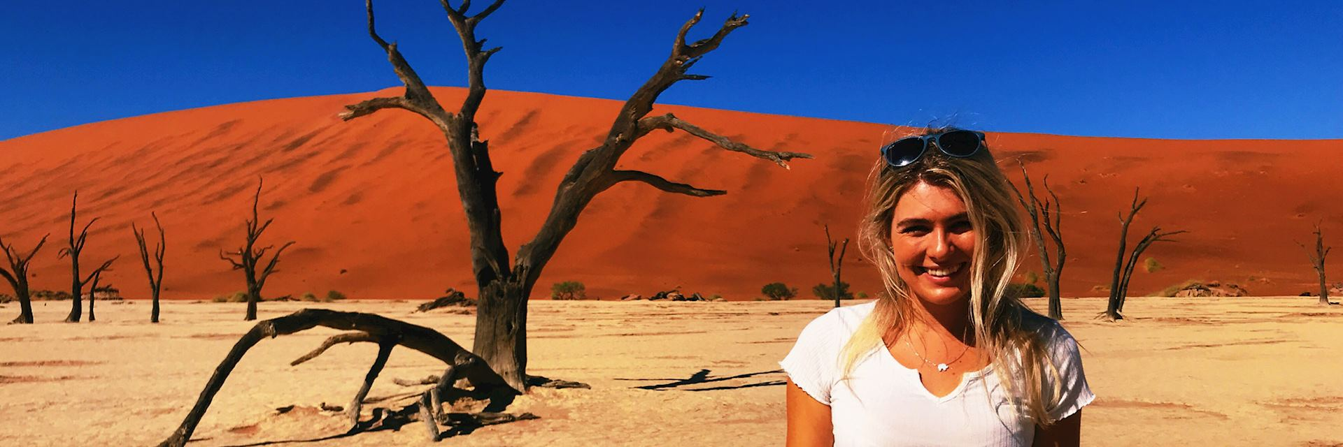 Catherine visiting Dead Vlei, Namibia