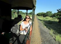 Chloe on the Elephant Express safari tour in Hwange National Park, Zimbabwe