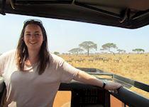 Erin on safari in the Serengeti, Tanzania
