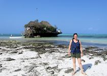 Erin in front of the the Rock Restaurant, Zanzibar