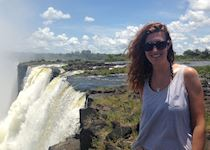 Harriet on Livingstone Island, Victoria Falls, Zambia