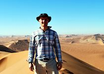 Iain on top of 'Big Daddy' sand dune in the Namib Desert, Namibia
