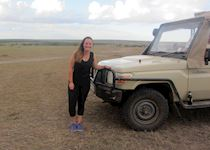 Izzy on a game drive in the Masai Mara, Kenya