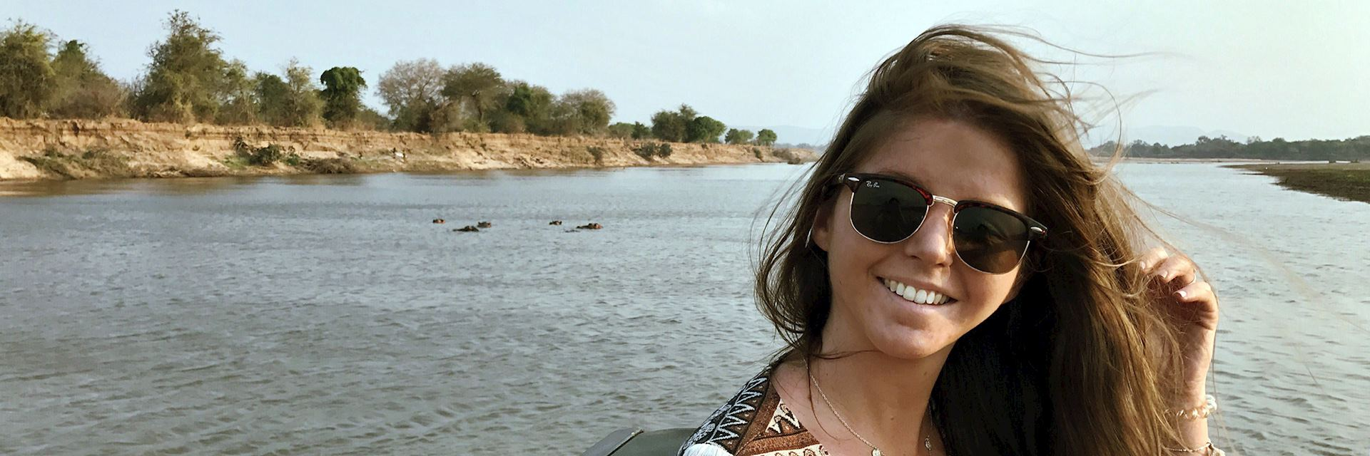Louise on the Luangwa River, Zambia