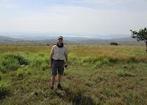 Mark on safari in Akagera National Park, Rwanda