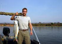 Russell fishing in the Lower Zambezi, Zambia