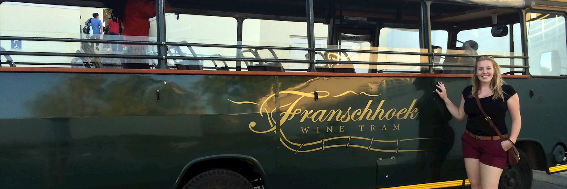 Sophie enjoying the Fanschhoek Wine Tram tour, South Africa