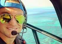 Tom on a helicopter flight in Mozambique