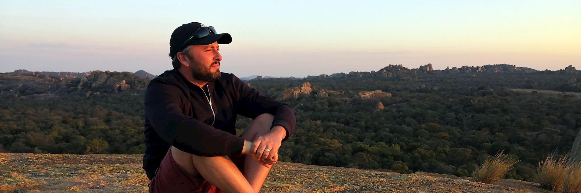 Tony in the Matopos Hills, Zimbabwe