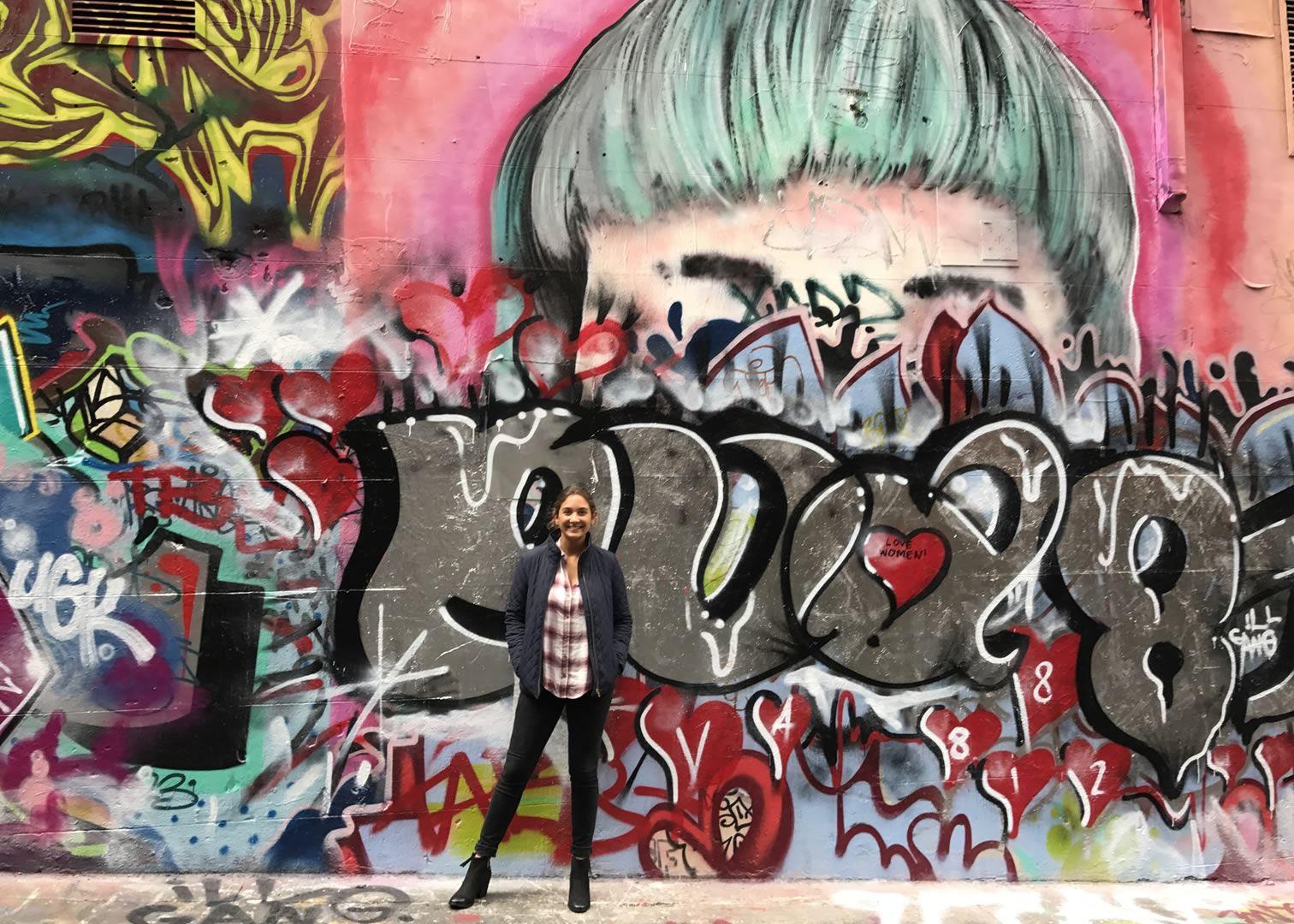 Danielle In Front Of Graffiti Street Art In Melbourne