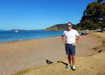 Matt on the beach at Oneroa Bay, Russell