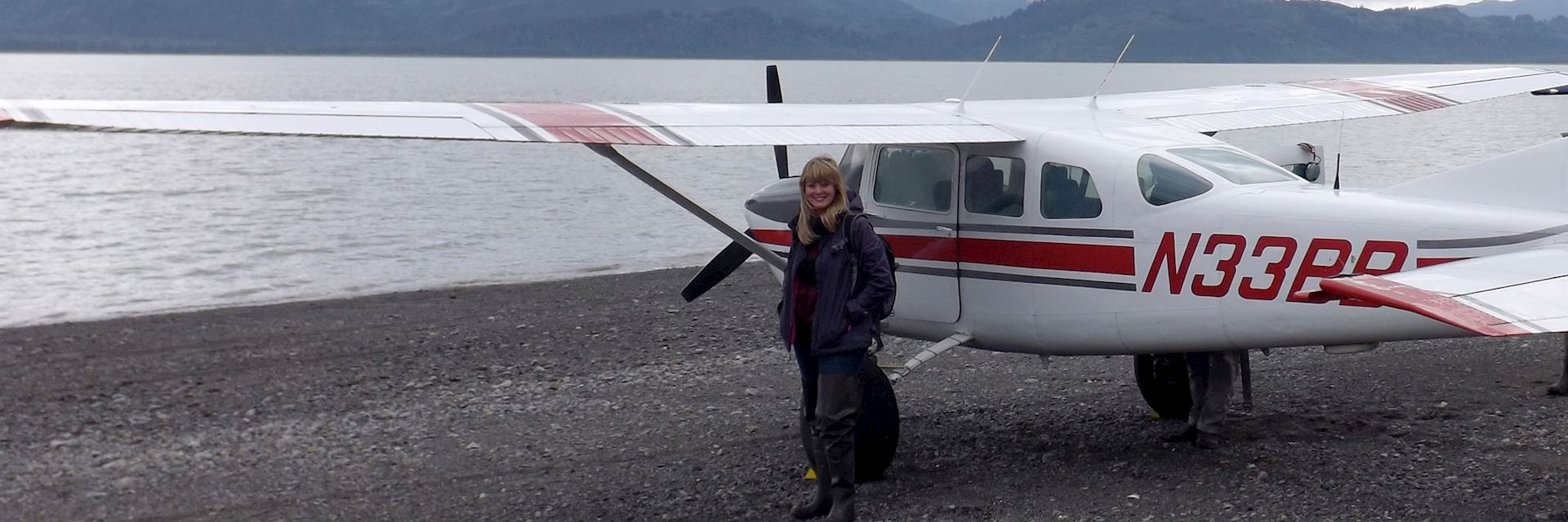 Anna about to take a flight in Alaska