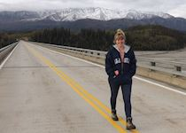Anna walking along the Richardson highway, Alaska