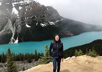 Annie visiting Peyto Lake, Canada