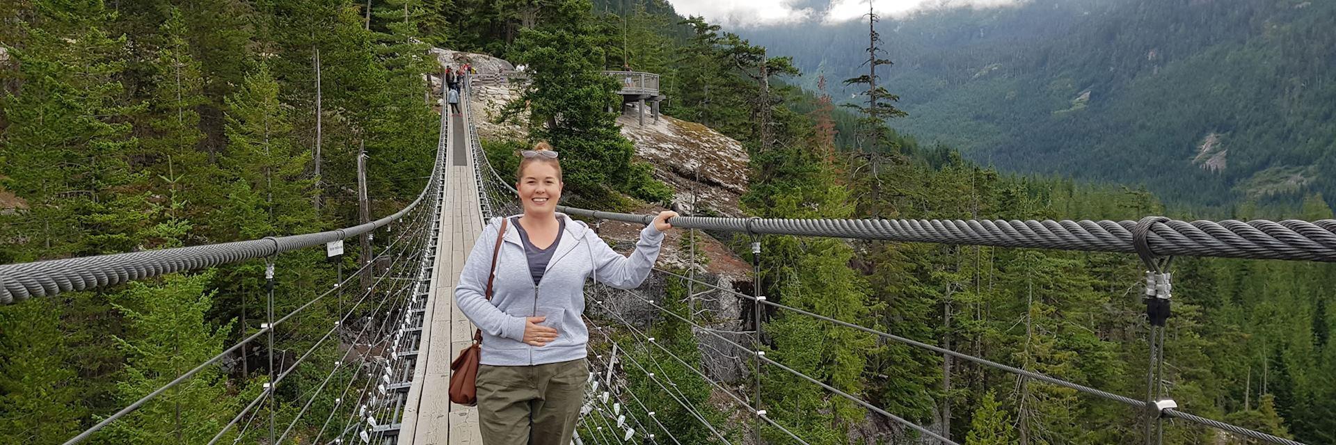 Fiona on Squamish Suspension Bridge, British Columbia