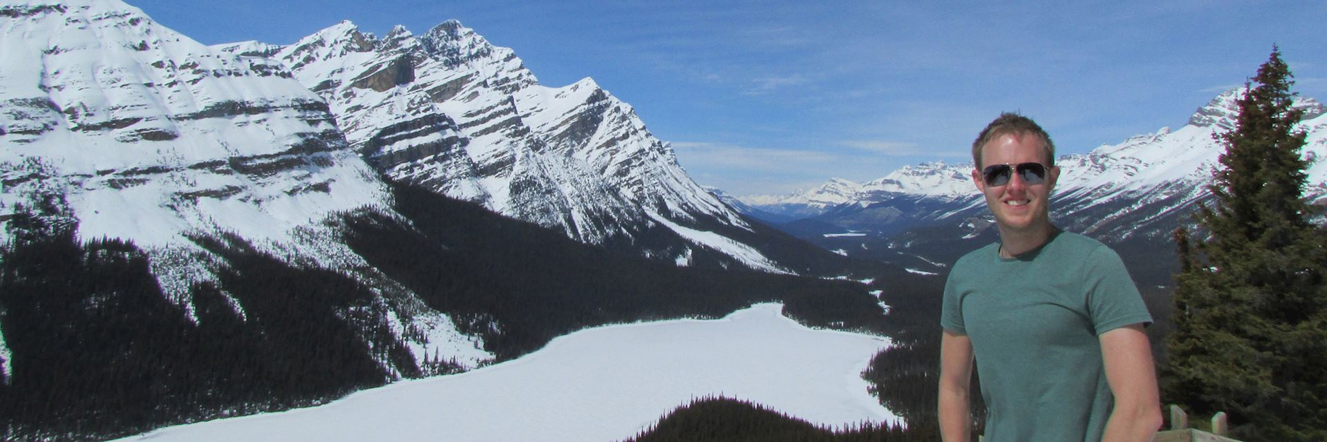 Mark enjoying the scenic viewpoint of Peyto Lake, Canada