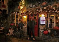 Tim outside Le Lapin Sute in Québec City, Canada