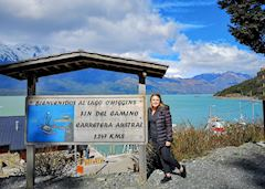 Jess at the end of the Carretera Austral (Chile's 1,240 km Southern Highway)