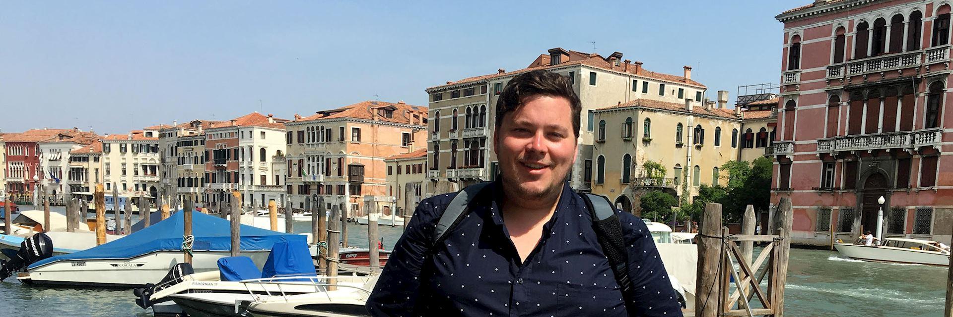 Brandon on the Grand Canal, Venice, Italy