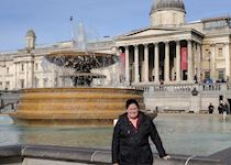 Liz outside the National Gallery, London