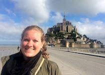 Elizabeth visiting Mont Saint-Michel, France