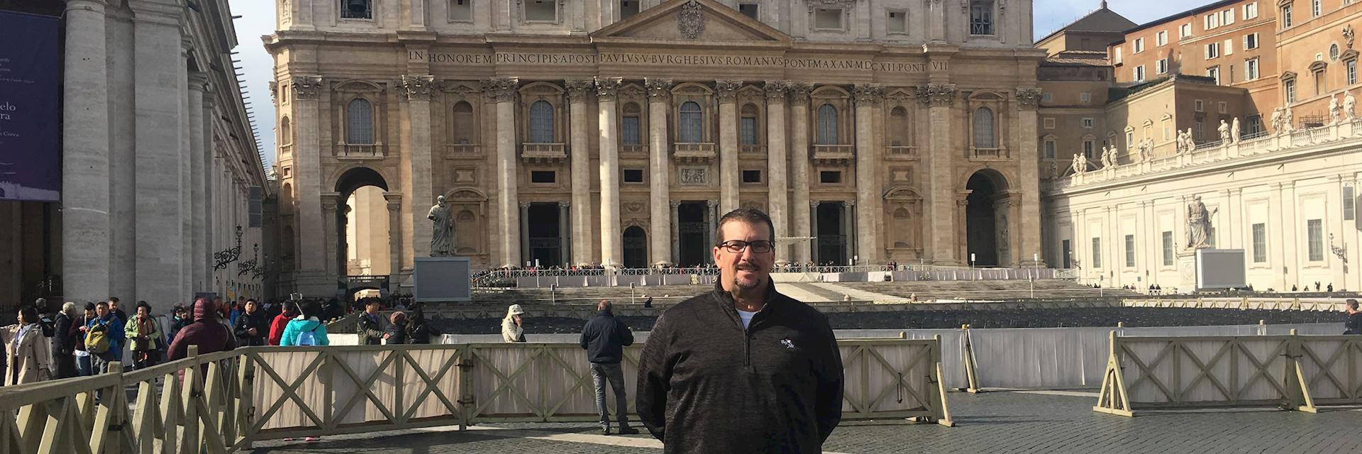 Joe outside the Vatican in Rome