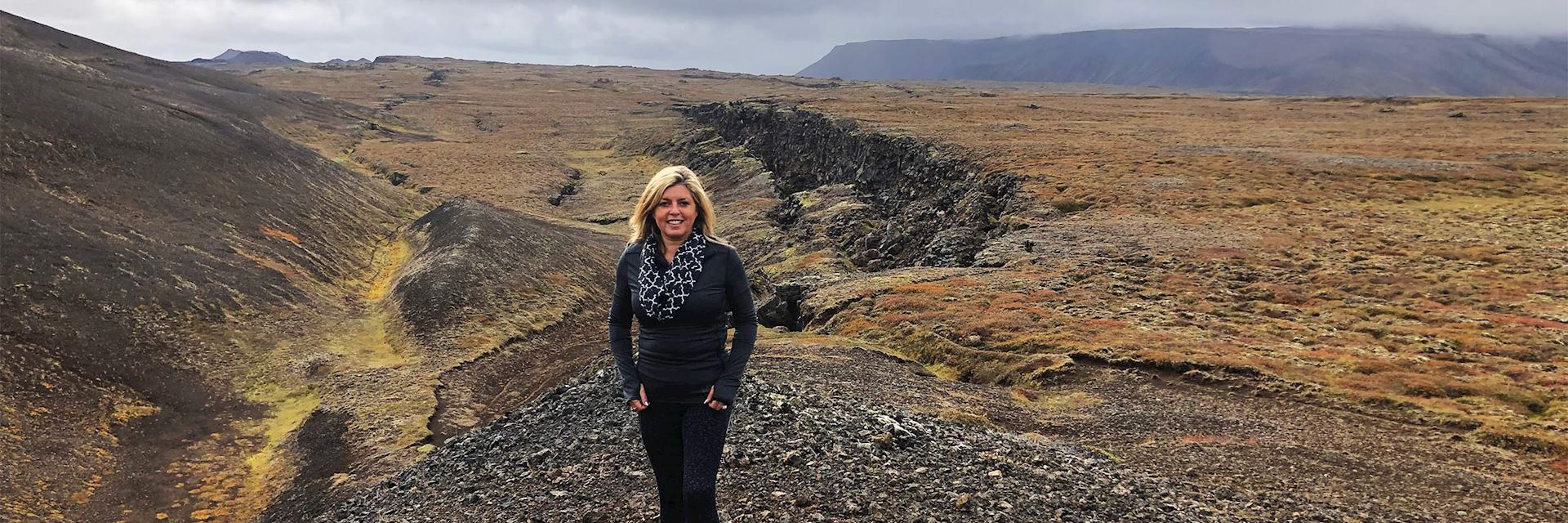 Laura visiting the lava fields, north Iceland