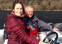 Marissa on a yacht on Loch Ness