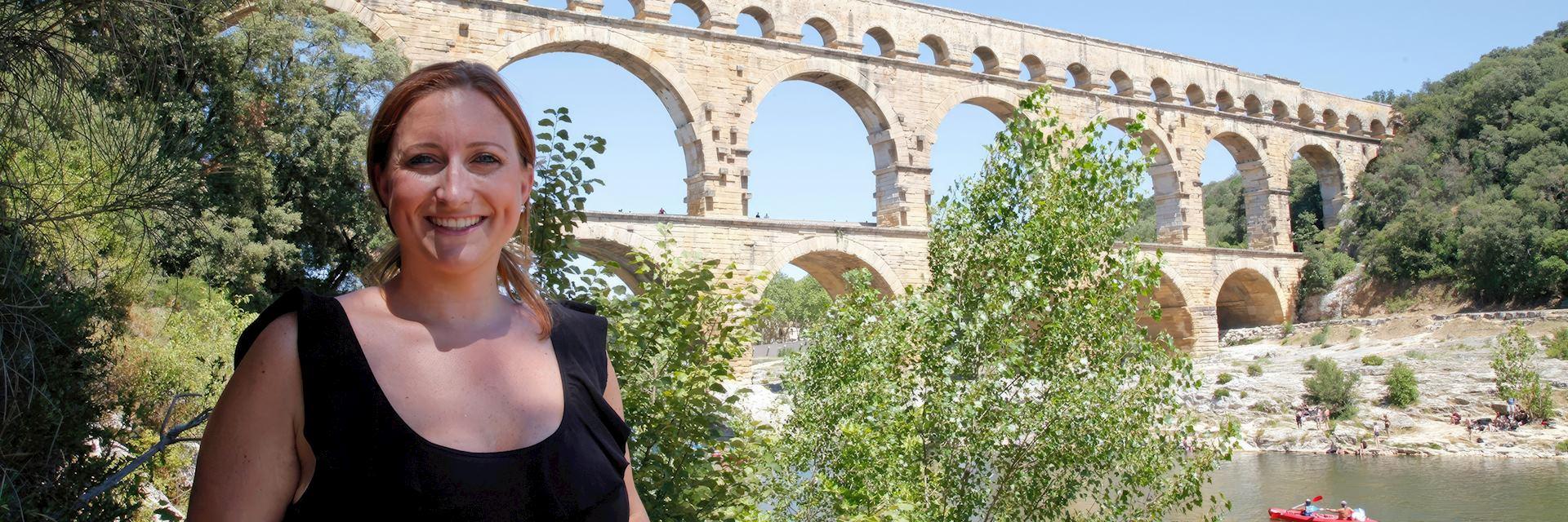 Samantha visiting Pont du Gard, France
