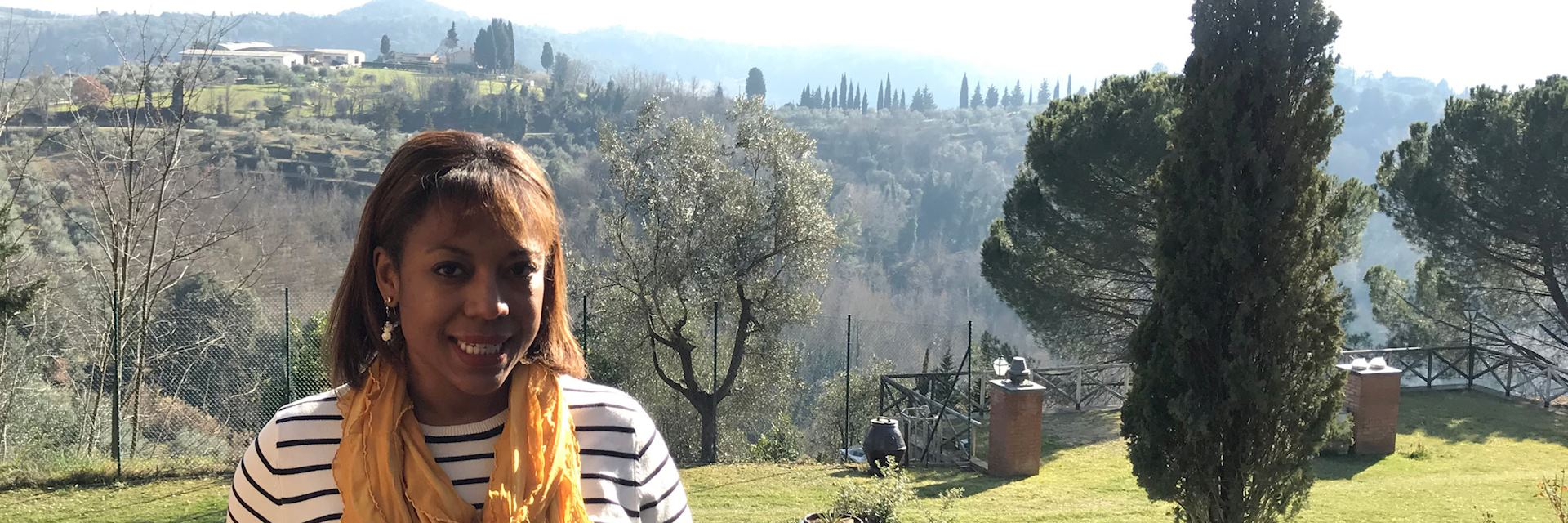 Sofia in a Tuscan vineyard, Italy