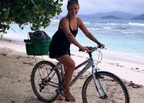Alice cycling around La digue, Seychelles
