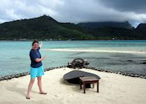 Annabel waiting for Mount Otemanu to reveal itself, French Polynesia