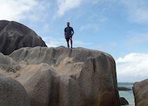 Daniel on the beach of Anse Source D'Argent, La Digue, Seychelles