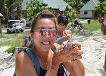 Hannah visiting a turtle conservation program on Denis Island, Seychelles