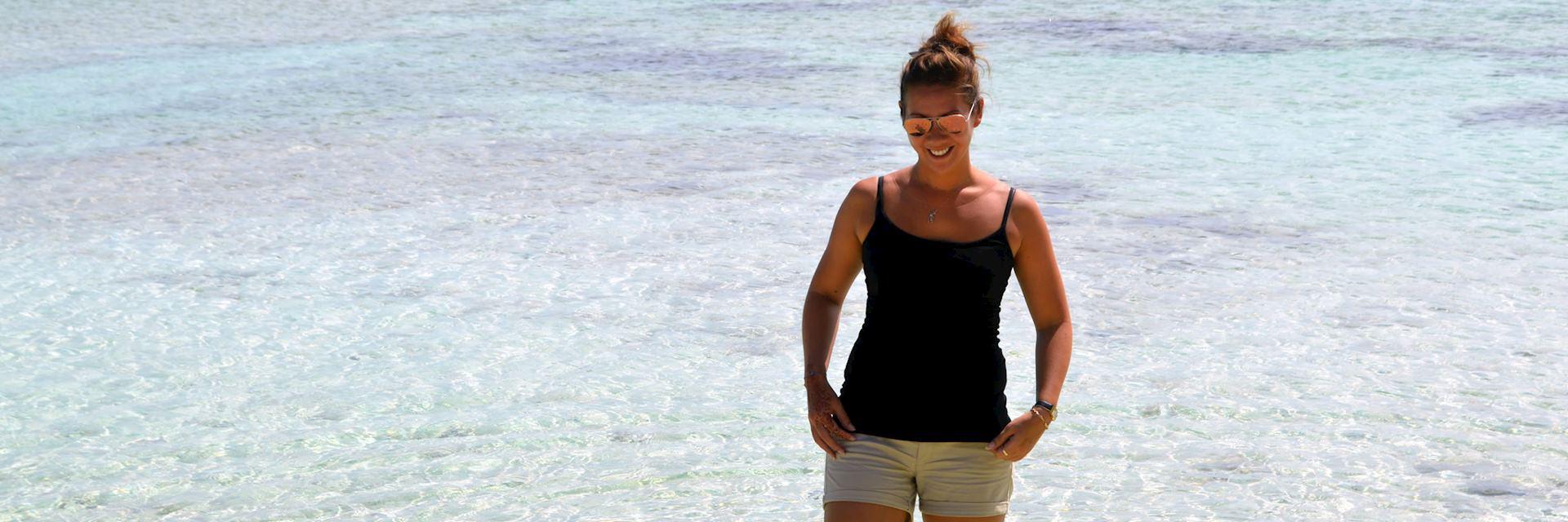 Hannah paddling on Dennis Island, Seychelles