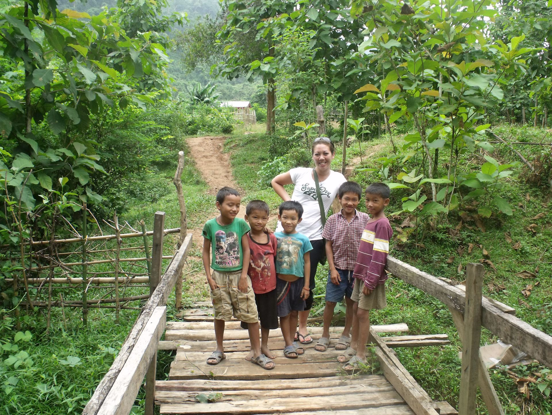 Playing with local children in northern Laos