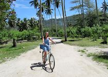 Hollie cycling on La Digue, Seychelles