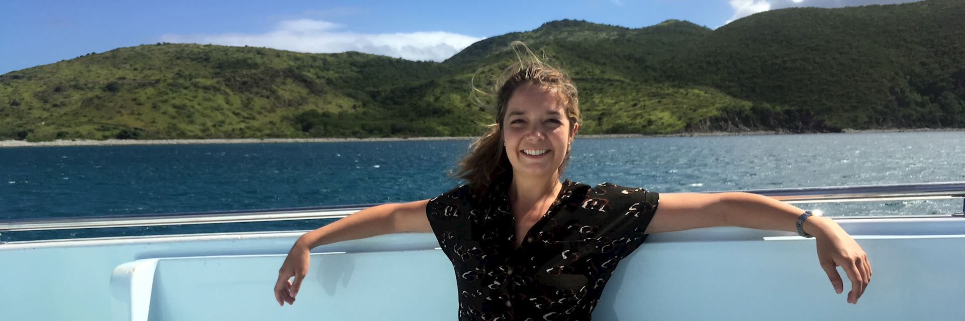 Louise on a boat transfer from Saint Kitts to Nevis