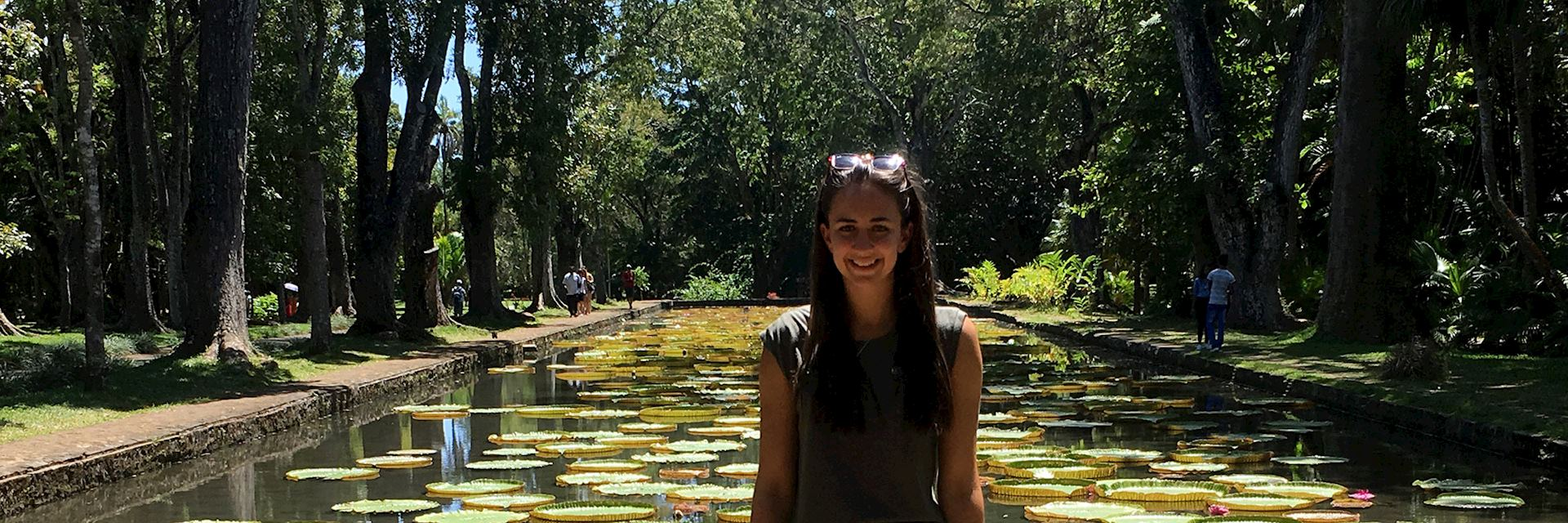 Sarah visiting the Pamplemousses Botanical Garden, Mauritius