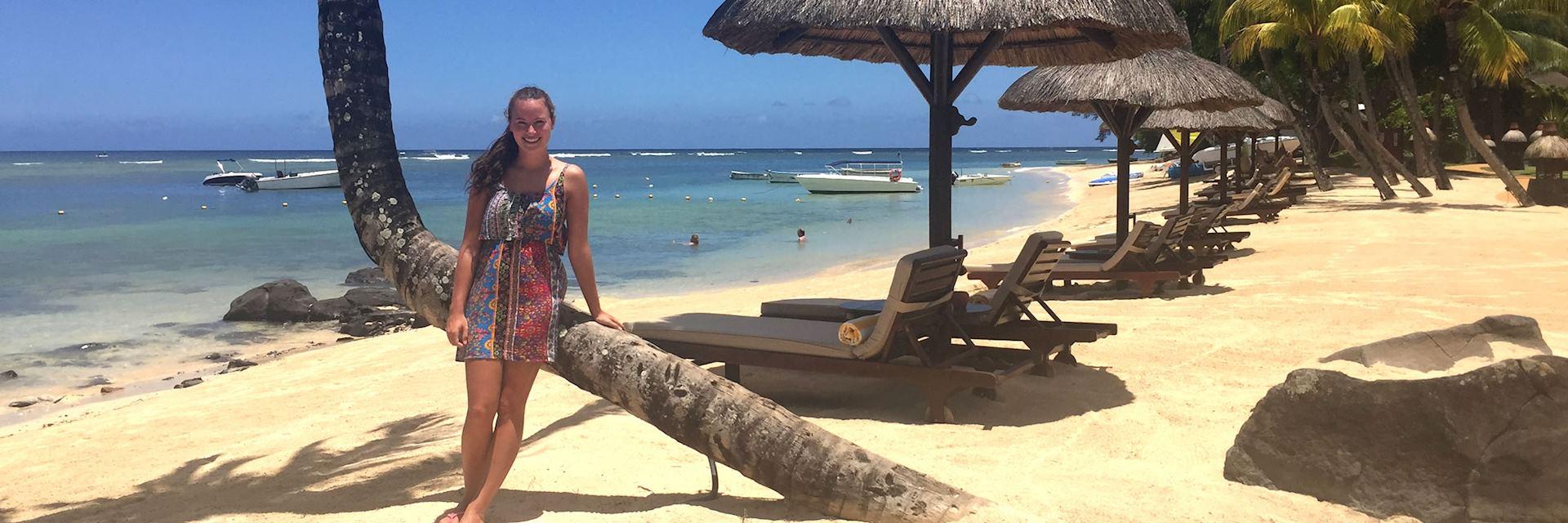 Sarah on the beach at the Oberoi Mauritius