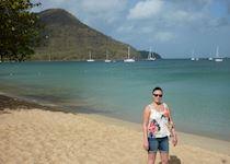 Stacey on the beach in Saint Lucia