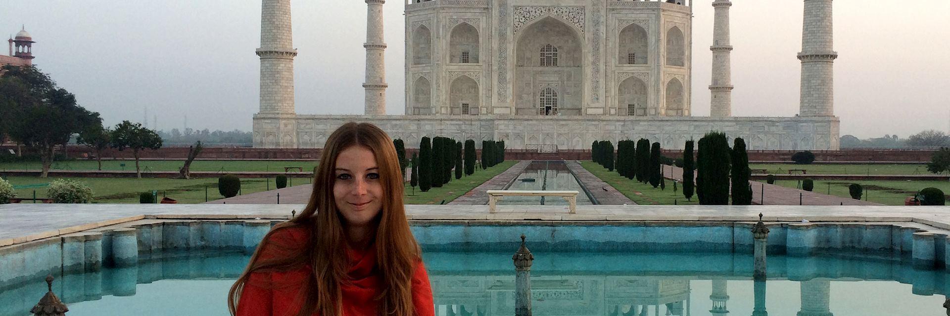 Alexandra visiting the Taj Mahal, India