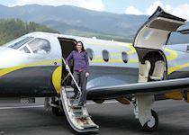 Alison on a private plane in Bhutan